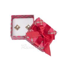 Piros színű ékszertartó doboz, masni dísszel