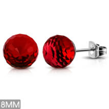 Piros színű gömb nemesacél fülbevaló