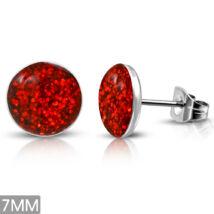 Piros színű, kristály mintás pont nemesacél fülbevaló ékszer