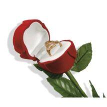 Piros színű, rózsaszál alakú ékszertartó