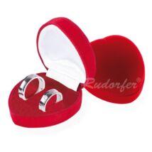 Piros színű, szív alakú ékszertartó doboz
