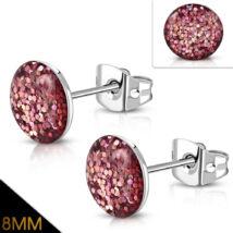 Rózsaszín, kristály mintás nemesacél fülbevaló
