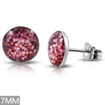 Rózsaszín kristály mintás pont nemesacél fülbevaló ékszer