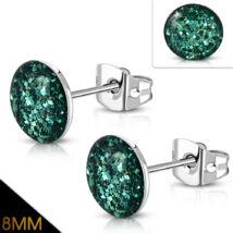 Smaragd zöld színű, kristály mintás nemesacél fülbevaló