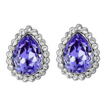 Swarovski kristályos csepp formájú, lila kristályos fülbevaló