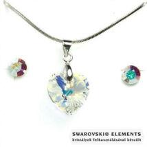 Swarovski® kristályos ékszerszett - Szív 14 mm, Crystal AB + díszdoboz