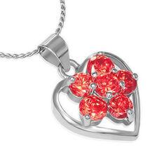 Szív alakú, piros kristályos, nemesacél női nyaklánc