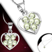 Szív alakú, Világoszöld kristályos női nyaklánc
