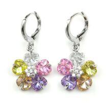 Virágos Swarovski kristályos fülbevaló szines kövekkel