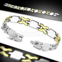 X formájú, ezüst és arany színű nemesacél karlánc