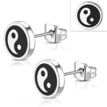 Yin-Yang mintájú nemesacél pont fülbevaló