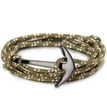 Zöld-piros színű horgonyos karkötő