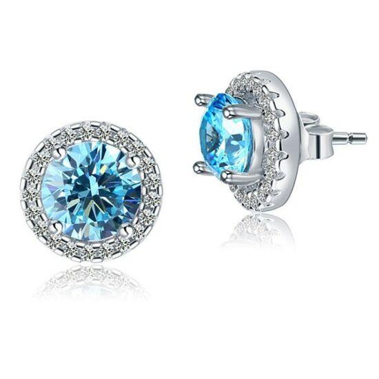 1.5 karátos ezüst fülbevaló eltávolítható kerettel és szintetikus gyémánt kristállyal - 925 ezüst ékszer