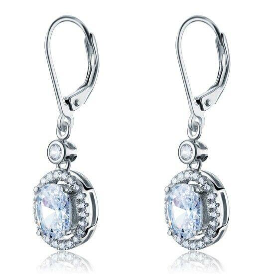 1.5 karátos ezüst fülbevaló ovális alkú szintetikus gyémánt kristállyal - 925 ezüst ékszer