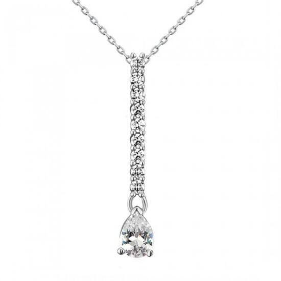 1 karátos csepp alakú gyémánt nyaklánc - 925 ezüst ékszer
