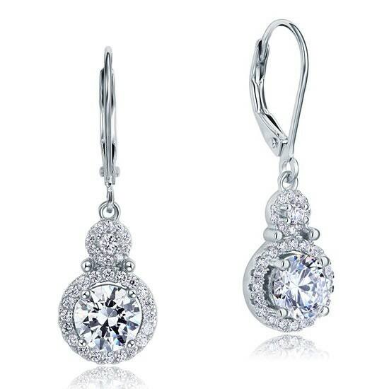 1 karátos ezüst fülbevaló szintetikus gyémánt kristállyal - 925 ezüst ékszer