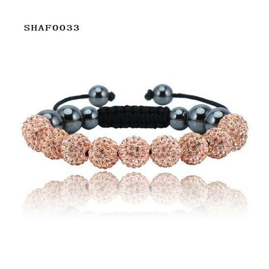 11 kristály gömbös shamballa karkötő - arany