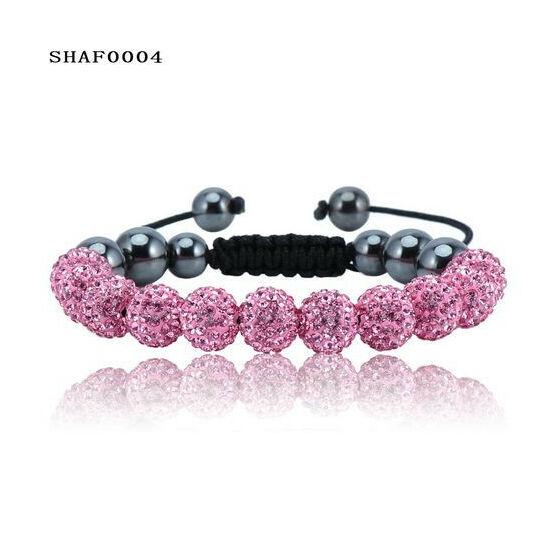 11 kristály gömbös shamballa karkötő - pink