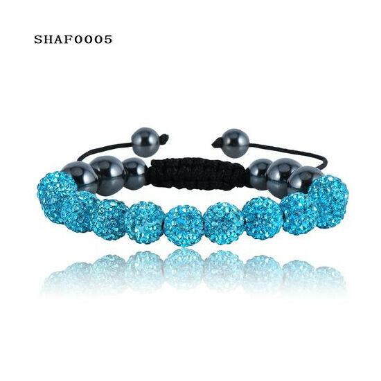 11 kristály gömbös shamballa karkötő - türkiz