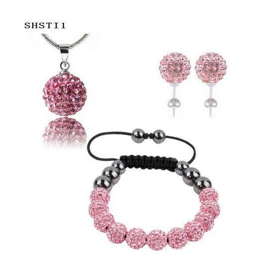 14 Kristálygömbös shamballa szett - pink