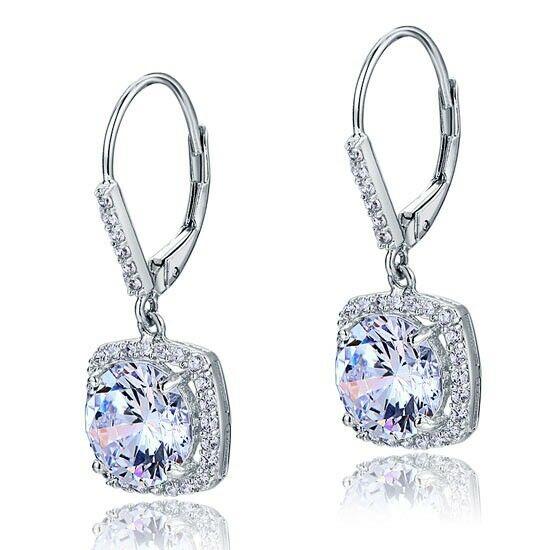 2.5 karátos ezüst fülbevaló szintetikus gyémánt kristállyal - 925 ezüst ékszer