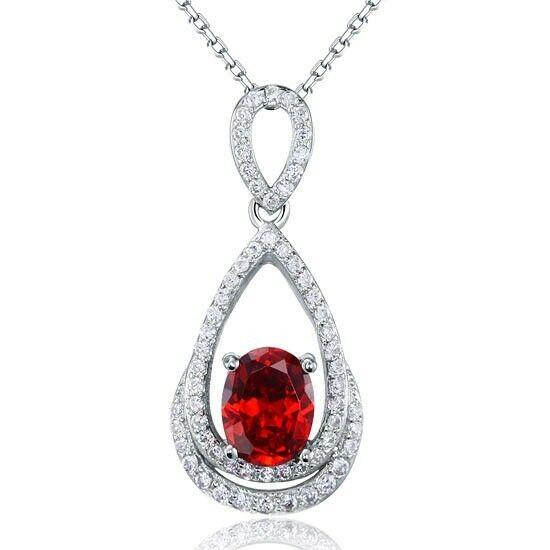 2 karátos csepp alakú piros gyémánt nyaklánc - 925 ezüst ékszer