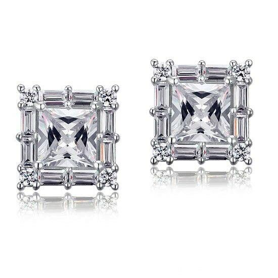 2 karátos ezüst fülbevaló szintetikus gyémánt kristállyal - 925 ezüst ékszer