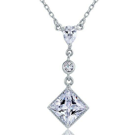 2 karátos szögletes gyémánt nyaklánc - 925 ezüst ékszer