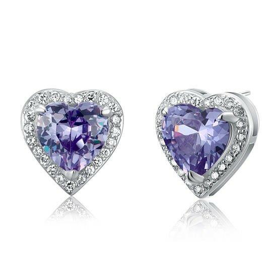 3 karátos ezüst fülbevaló szív alakú lila cirkónia kristállyal - 925 ezüst ékszer