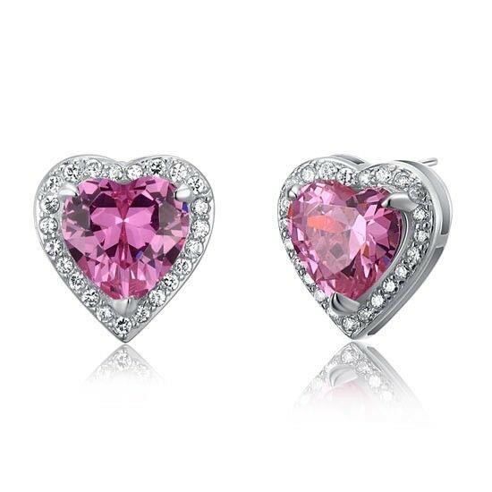3 karátos ezüst fülbevaló szív alkú pink cirkónia kristállyal - 925 ezüst ékszer