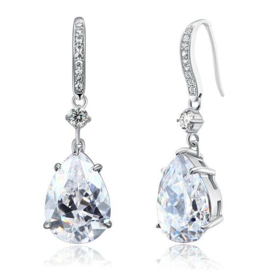 4 karátos ezüst fülbevaló csepp alakú szintetikus gyémánt kristállyal - 925 ezüst ékszer