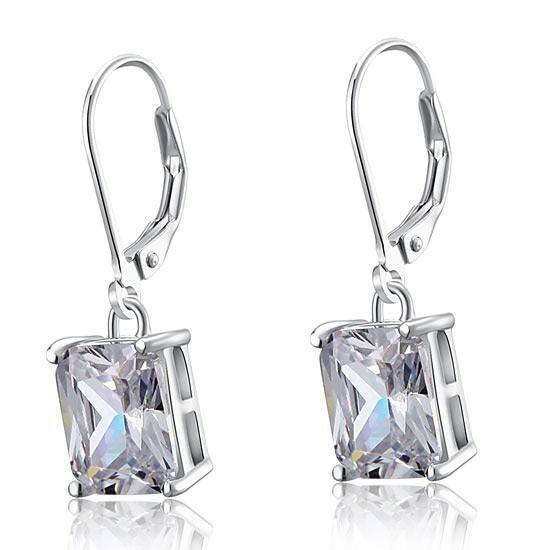 4 karátos ezüst fülbevaló hasáb alakú szintetikus gyémánt kristállyal - 925 ezüst ékszer