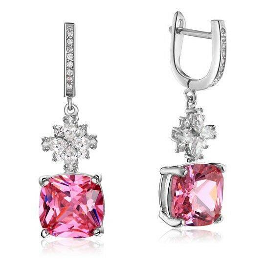 4 karátos ezüst fülbevaló pink szintetikus zafír kristállyal - 925 ezüst ékszer