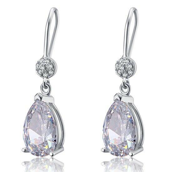 4 karátos ezüst fülbevaló szintetikus gyémánt kristállyal - 925 ezüst ékszer