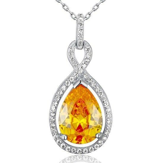 5 karátos csepp alakú sárga zafír nyaklánc - 925 ezüst ékszer