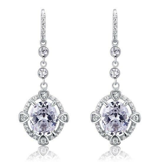 5 karátos ezüst fülbevaló kerek szintetikus gyémánt kristállyal - 925 ezüst ékszer