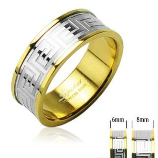 6 mm - Arany és ezüst színű karikagyűrű görög mintázattal