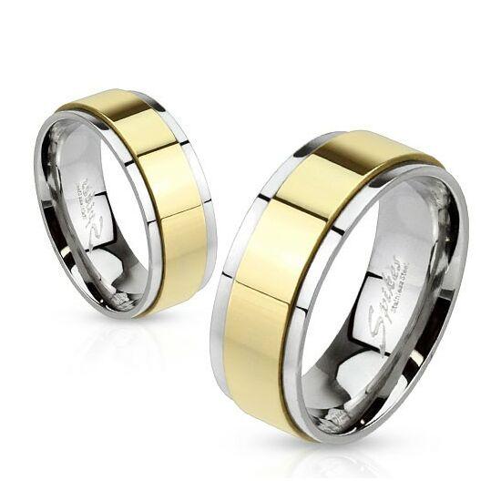 6 mm - Arany és ezüst színű, tükör fényes nemesacél gyűrű ékszer