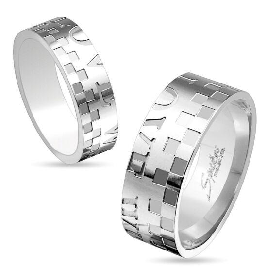 6 mm - Ezüst színű, mintás nemesacél gyűrű ékszer