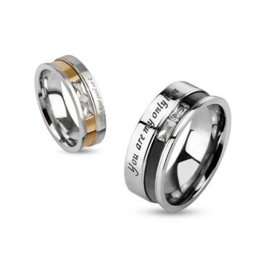 6 mm - Igaz szerelmem -  Arany és ezüst színű nemesacél gyűrű ékszer