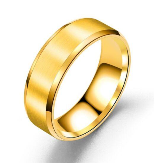 8 mm - Arany színű, lapos szélű nemesacél gyűrű ékszer - Matt