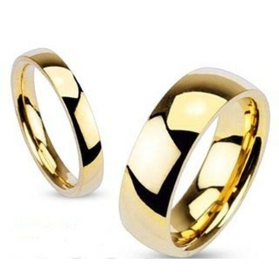 8 mm - Arany színű, tükörfényes nemesacél gyűrű