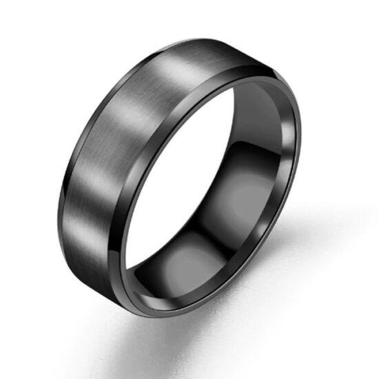 8 mm - Fekete színű, lapos szélű nemesacél gyűrű ékszer - Matt
