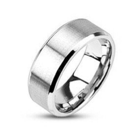 8 mm - Matt, ezüst színű nemesacél gyűrű ékszer