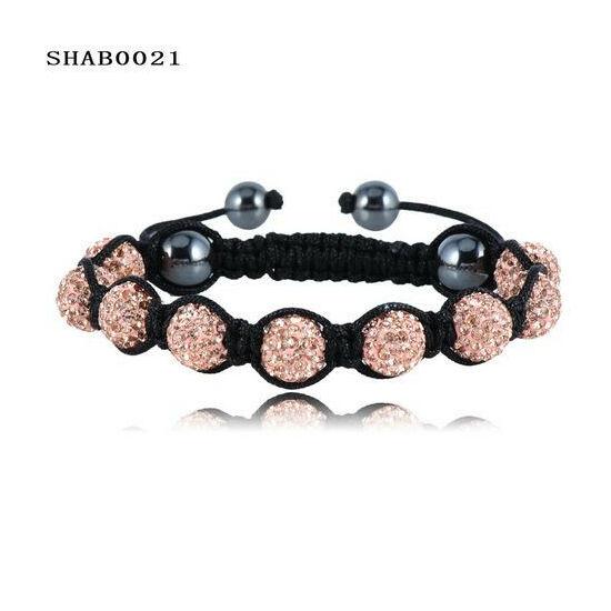 9 kristály gömbös shamballa karkötő - arany/bronz