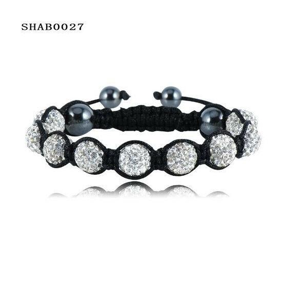 9 kristály gömbös shamballa karkötő - ezust