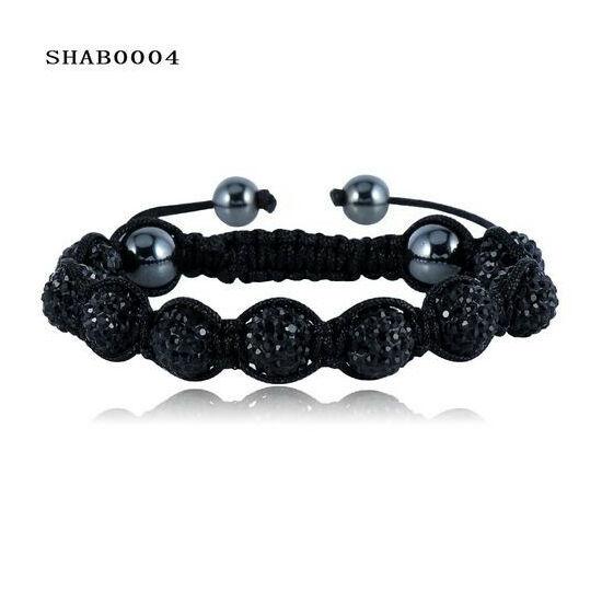 9 kristály gömbös shamballa karkötő - fekete
