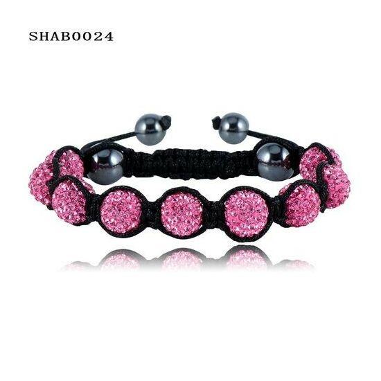 9 kristály gömbös shamballa karkötő - pink