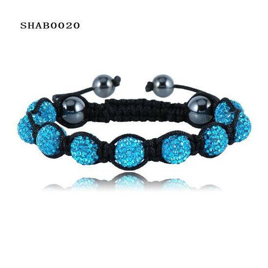 9 kristály gömbös shamballa karkötő - türkiz