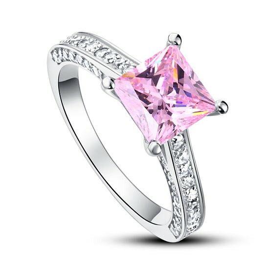 925 ezüst gyűrű négyzet alakú lila gyémánttal - 5